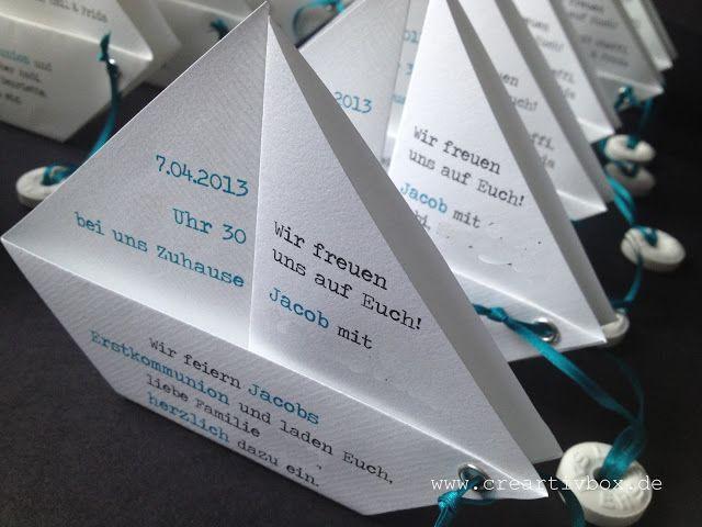 Einladung Konfirmation/Kommunion   PAPIER.BOOT 2   Einladungskarte Zur  Konfirmation Oder Kommunion Der Ganz Besonderen Art. Das Gefaltete  Papierboot Wird ...