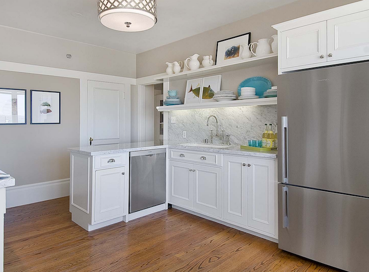 2019 Vermont Modern White Painted L Shaped Shaker Kitchen Cabinet