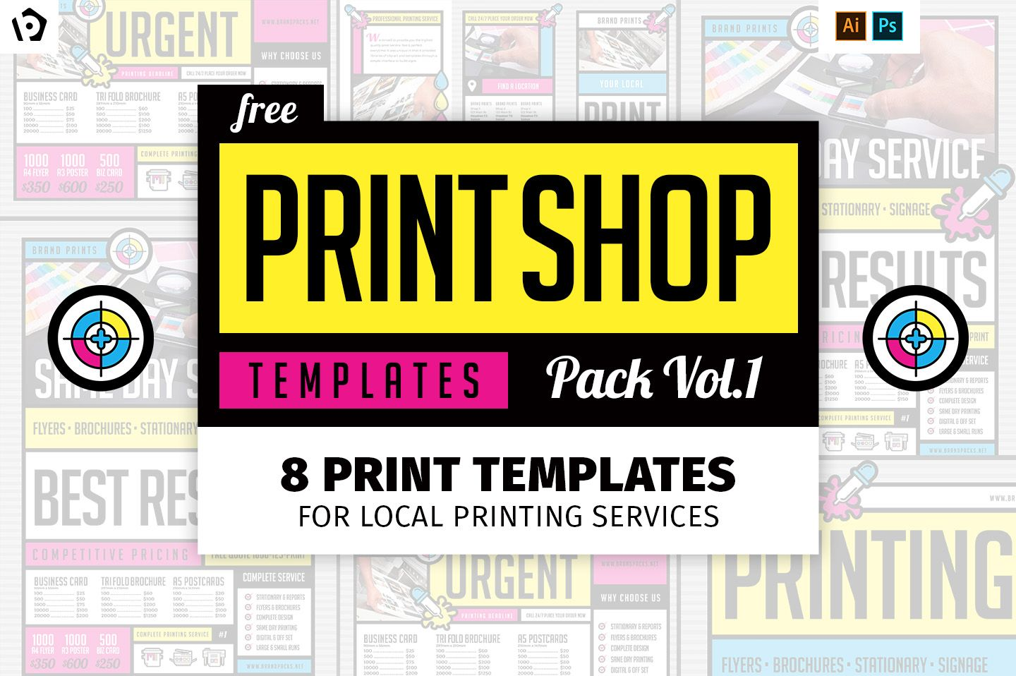 11 Free Print Shop Templates For Graphic Designers Printers Free Business Card Templates Business Template Printable Business Cards