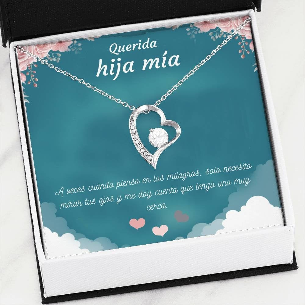 Daughter bling heart necklace in spanish spanish family