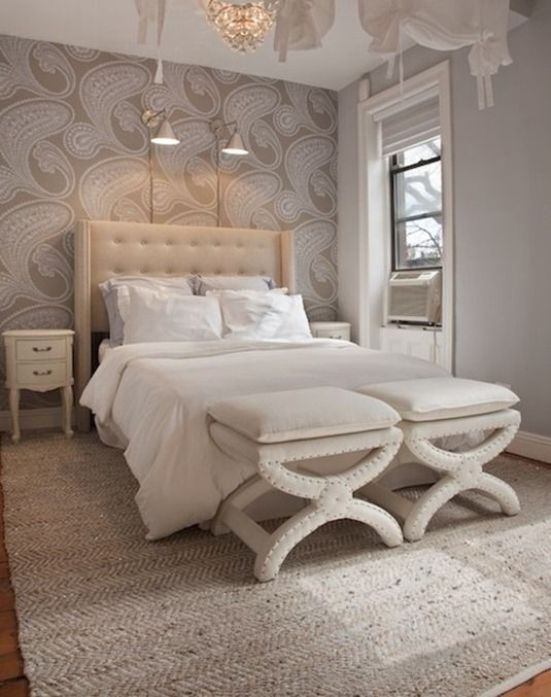 Innovative Ideas To Add Silvery Spark To Your Bedroom Feature Wall Bedroom Wallpaper Bedroom Feature Wall Home Bedroom