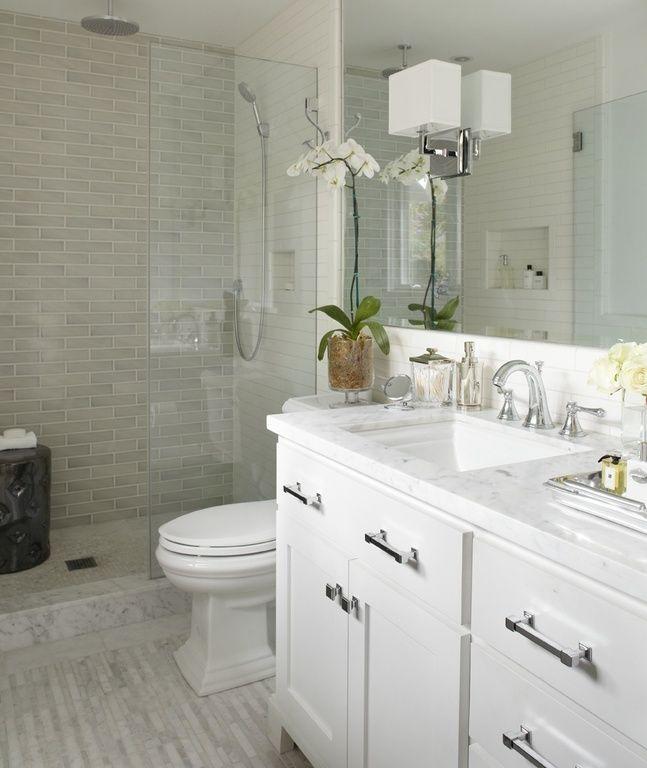 Small Bathroom 4 X 6 contemporary 3/4 bathroom with rain shower, marble subway tile (3