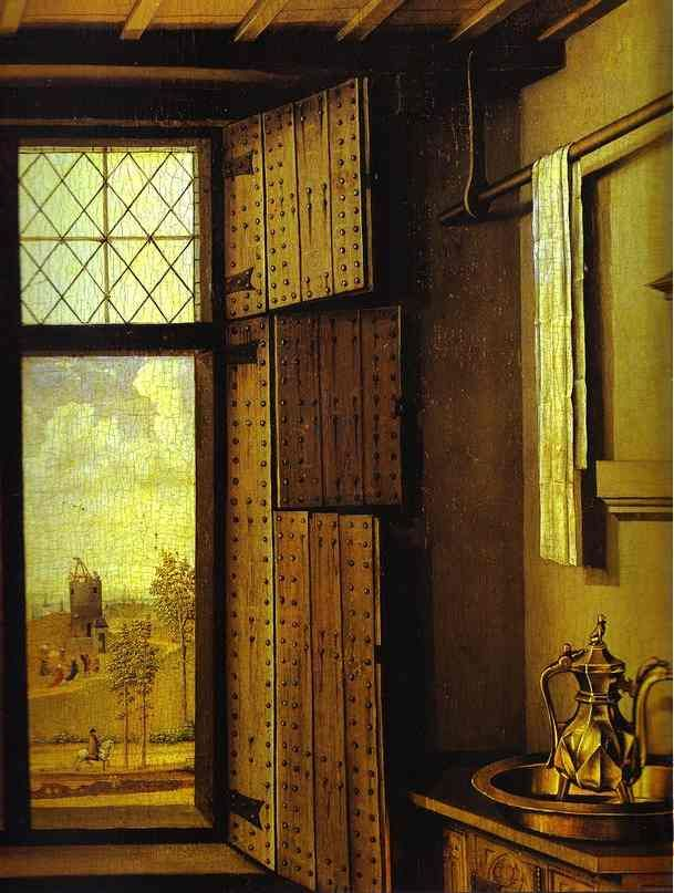 St. Barbara, window detail, by Robert Campin,  from the Merode Altarpiece, 1425-28.
