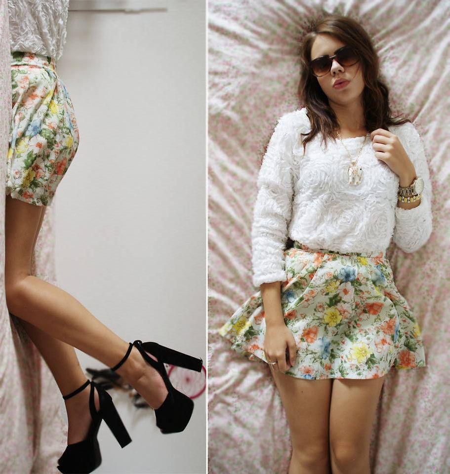 Floral Skater Skirt + Heels