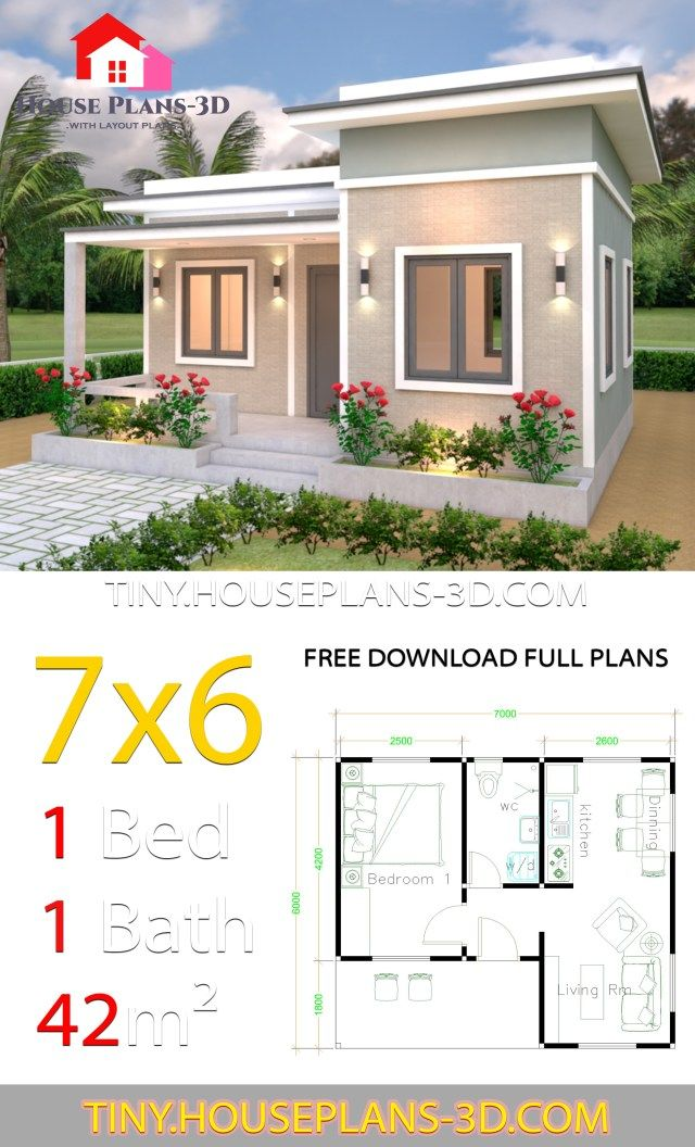 Photo of Tiny House Plans 7×6 with One Bedroom Flat Roof – Tiny House Plans