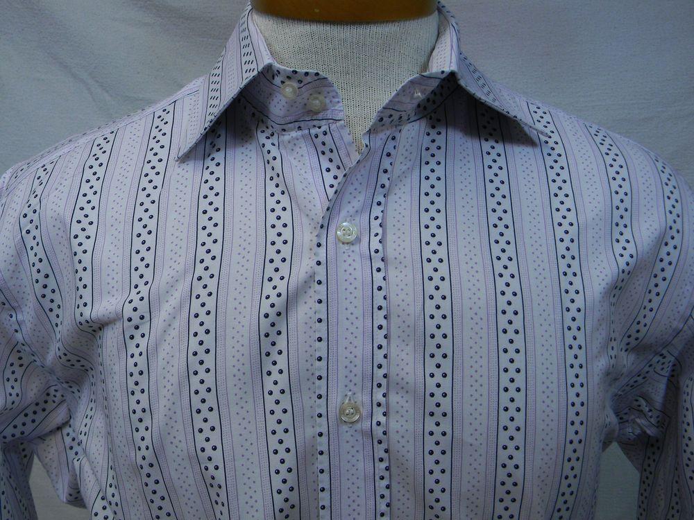31a2c27a5a Etro Milano white pink striped dots 100% cotton Fun dress shirt 41 ...