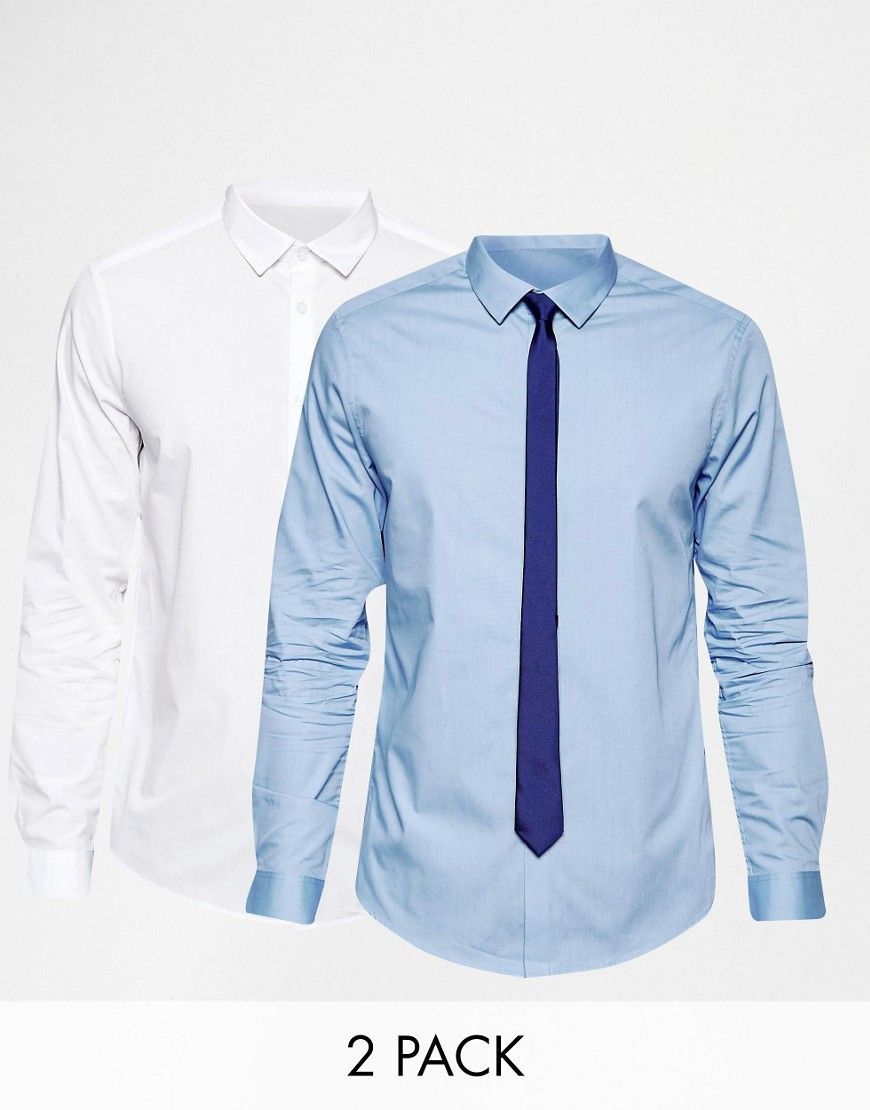 Super seje ASOS White And Blue Shirt 2 Pack With Navy Tie Set - Multi ASOS Shirts til Herrer til enhver anledning