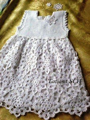 Crochet+y+dos+agujas:+Vestido+para+niña+para+bautismo