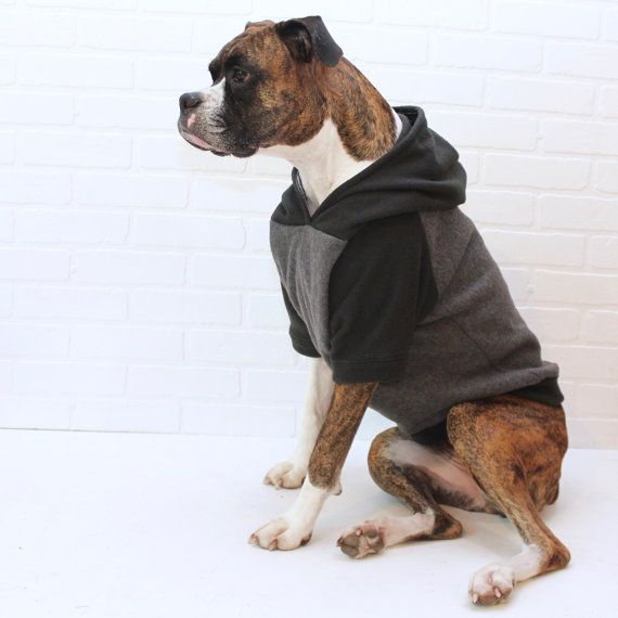 Dog Hoodie Large Dog Sweater Clothing for Girl/Boy in Black and Grey ...