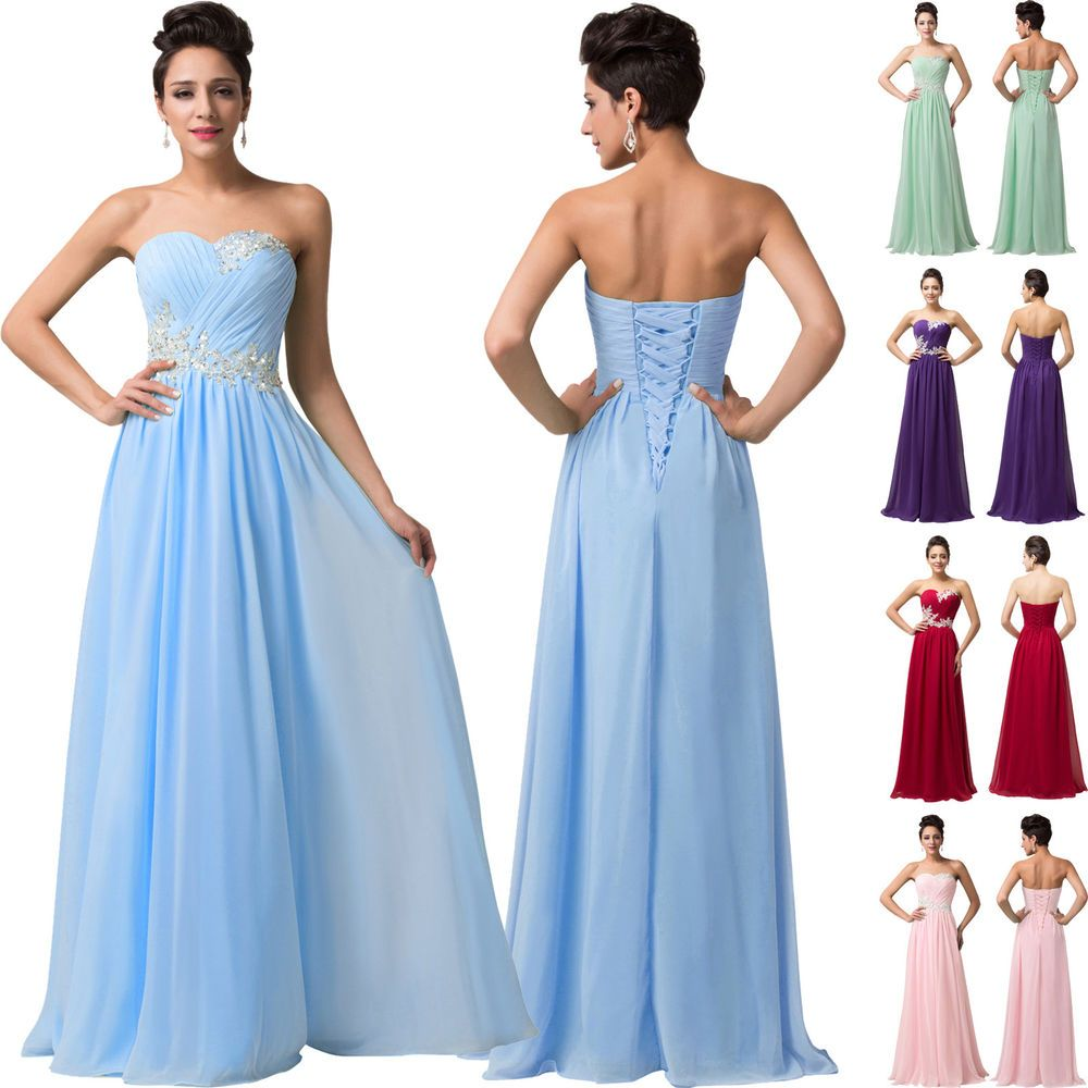 Details about PLUS SIZE Grad Long Chiffon Prom Dresses Party Formal ...
