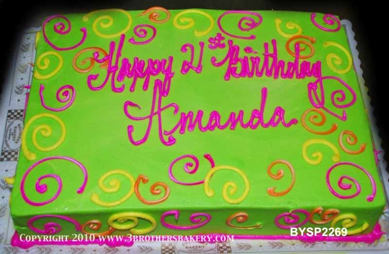 BYSP2269 Sheet cake Neon green and pink cake with swirls