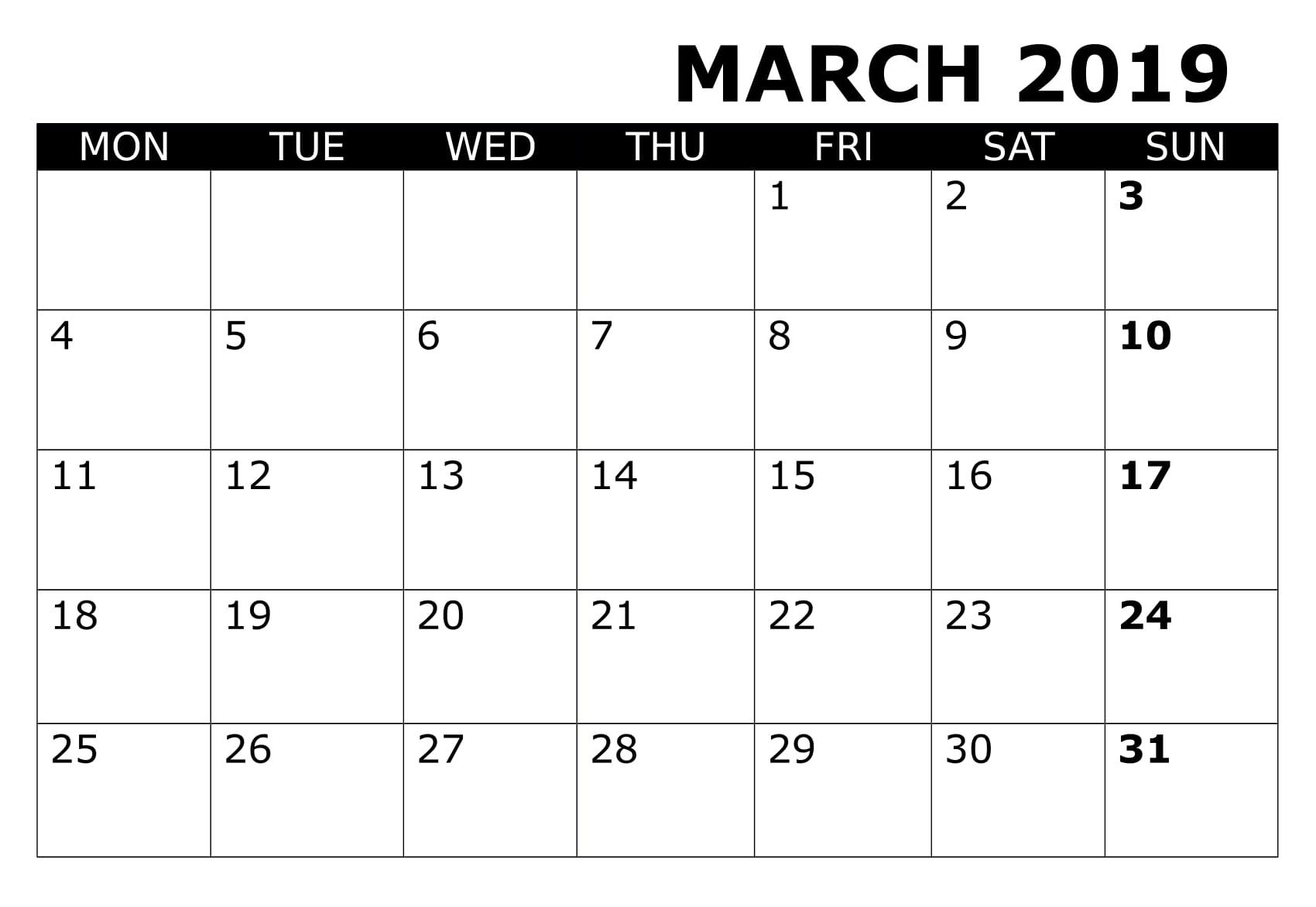 Editable March 2020 Calendar Word Template In Portrait And