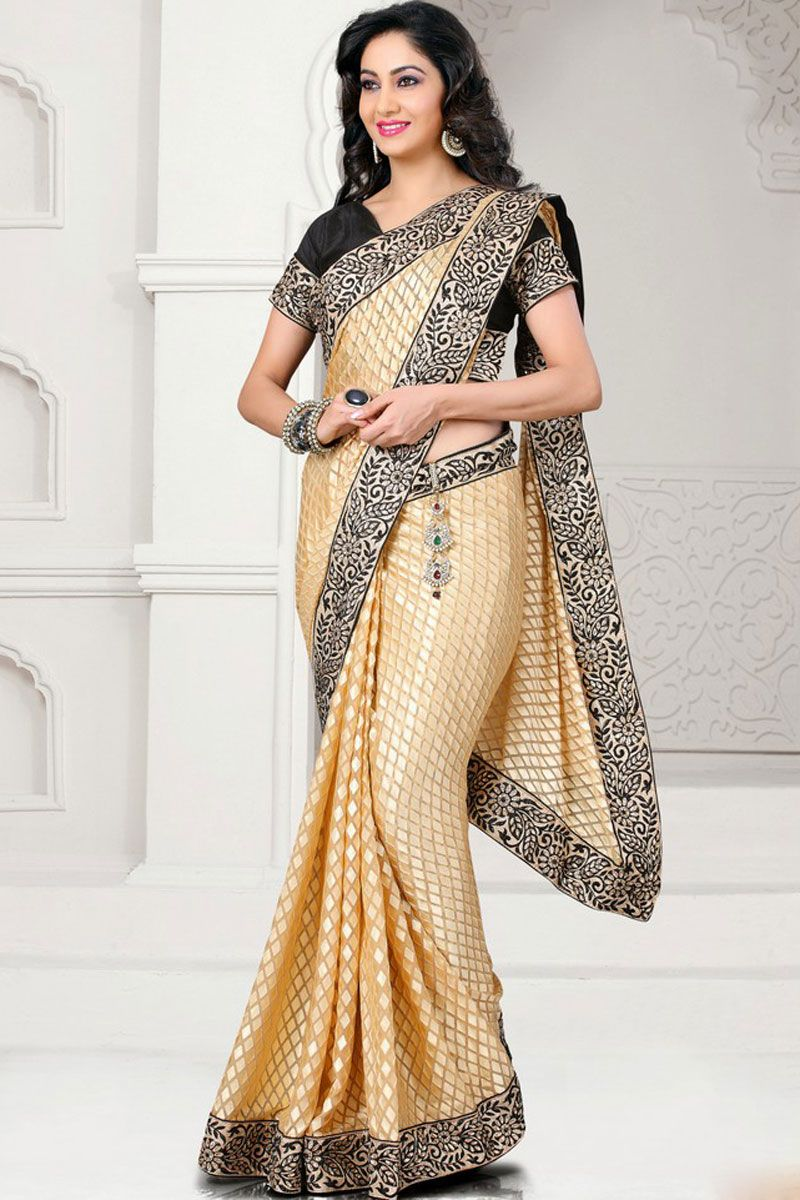 Peach yellow faux georgette and brasso embroidered festival saree