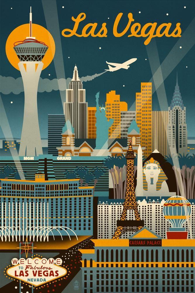 Las Vegas, Nevada Retro Skyline Lantern Press Artwork