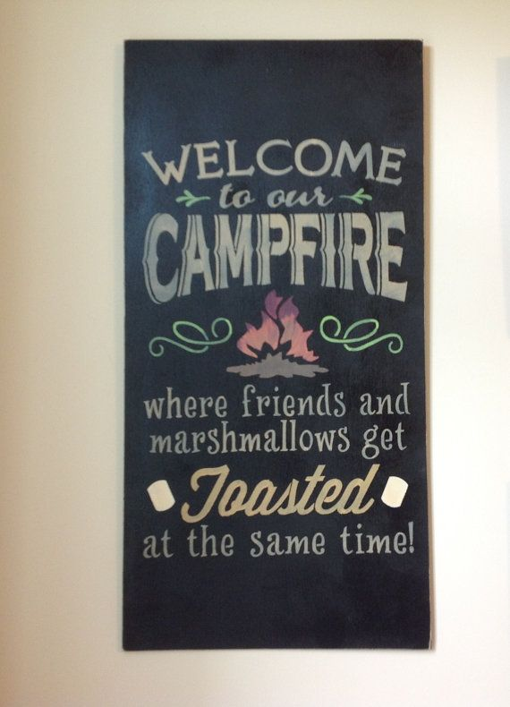 Large Welcome To Our Campfire Bonfire Campsite by GAGirlDesigns, $40.00