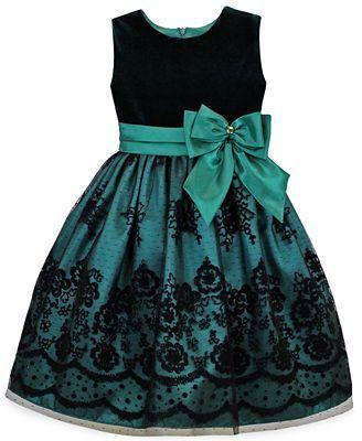 Jayne Copeland Girls' Velvet Flocked Dress