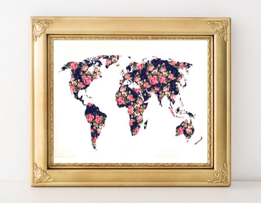 World map poster flower world map floral map poster floral world world map poster flower world map floral map poster floral world poster pink black world art shabby chic world art digital gumiabroncs Images