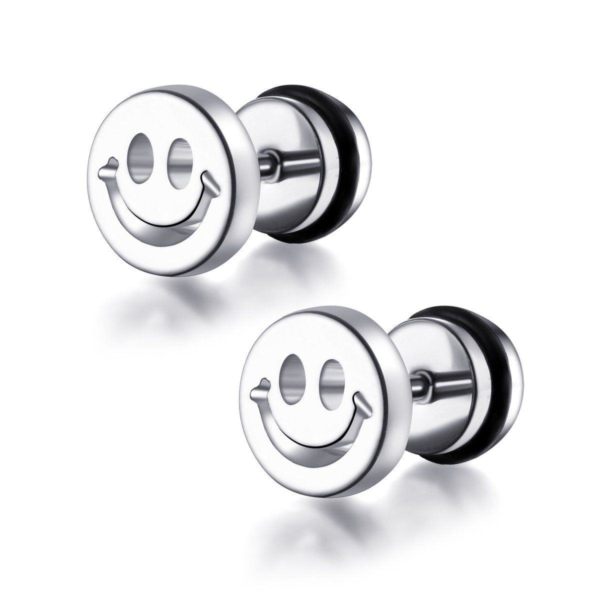 Stainless Steel Jewelry Smiley Face Fake Plug Earrings With O-Ring (Sold In Pairs)