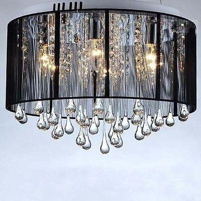 Black Drum Shade Crystal Ceiling Chandelier Pendant Light Fixture