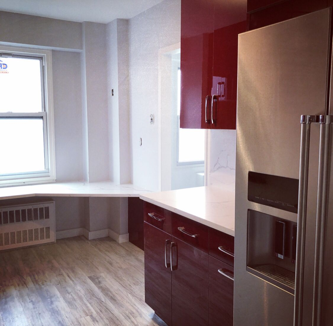 Red Cabinetry Mixed With Marble Look Quartz Kitchen And Bath Design Red Kitchen Cabinets Red Cabinets