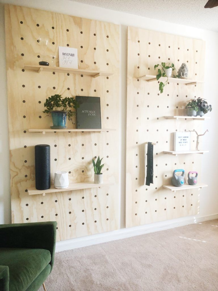 Home Gym Makeover – DIY Pegboard Wall -   19 fitness Room mall ideas