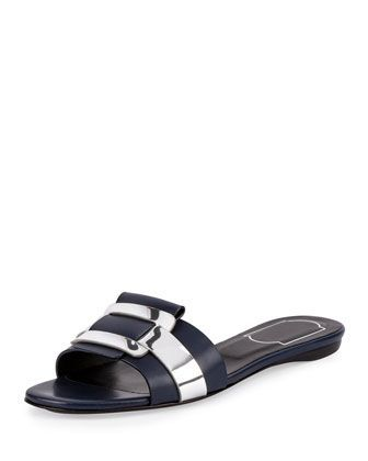 low price sale online Roger Vivier Leather Buckle Slide Sandals clearance high quality cheap in China cheap sale choice footlocker pictures cheap price xLh8ULefJw