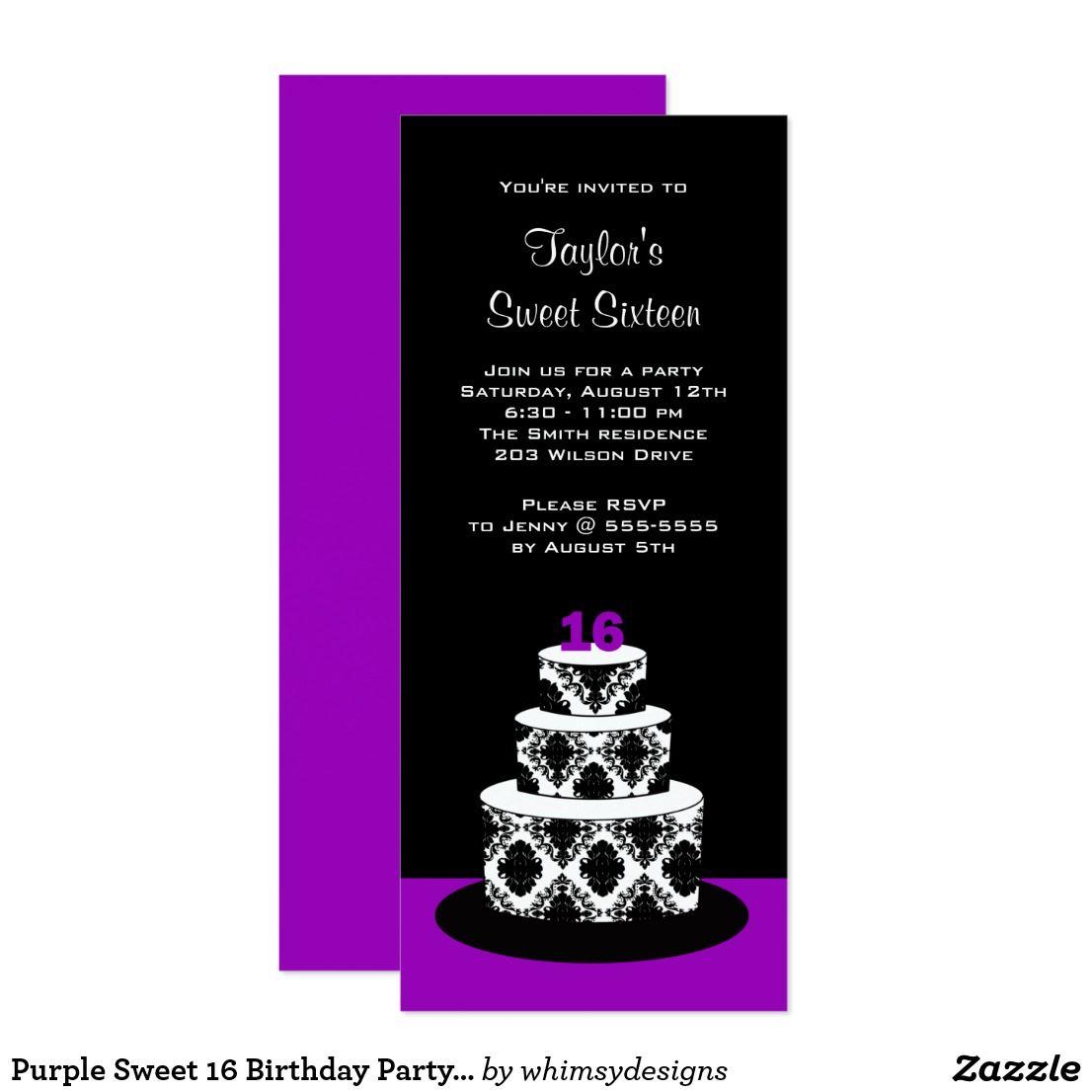 Purple Sweet 16 Birthday Party Invitations | Purple sweet 16 ...