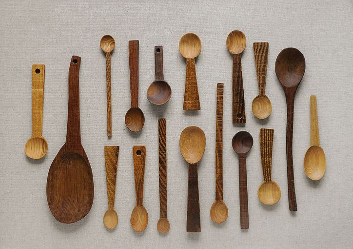 Spoons handmade from re-purposed wood by Japanese potter Atsushi Honda(Kobo Isado) #kitchenware #wooden #recycled