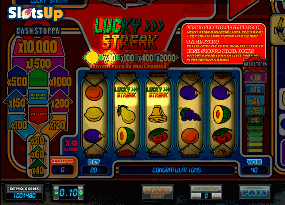 Lucky Streak Slot by Microgaming Play FREE at SlotsUp
