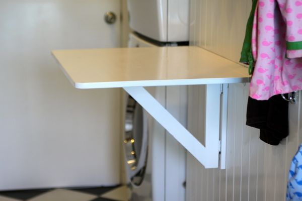 Image Of Clothes Folding Table In Small Laundry Room Enter The Drop Leaf Tab Laundry Room Folding Table Laundry Folding Tables Laundry Room Remodel