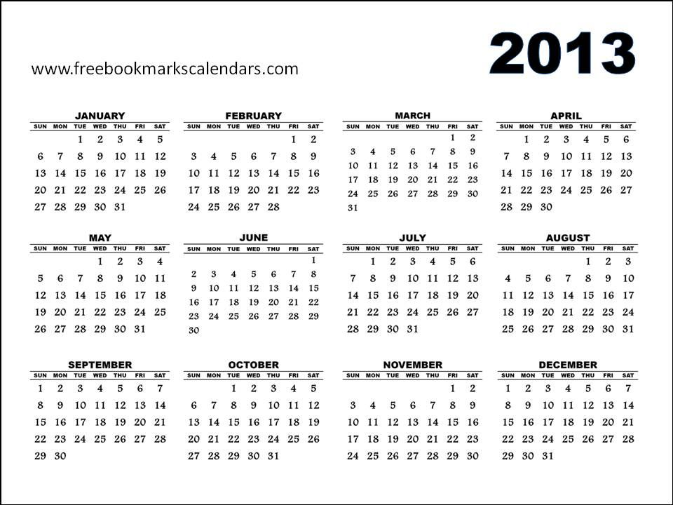 2ca1 Yearly Calendar 2013 Jan To Dec 2013 Jpg 960 720 Pixels Free Printable Calendar Calendar Printables 2013 Calendar
