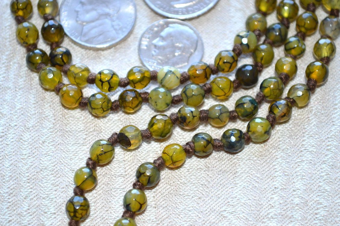 108 Green Agate Dragon Vein Hand Knotted Mala Bead Necklace Buddhist Prayer Beads Knotted Gemstone Mala Energized for Spiritual Awakening
