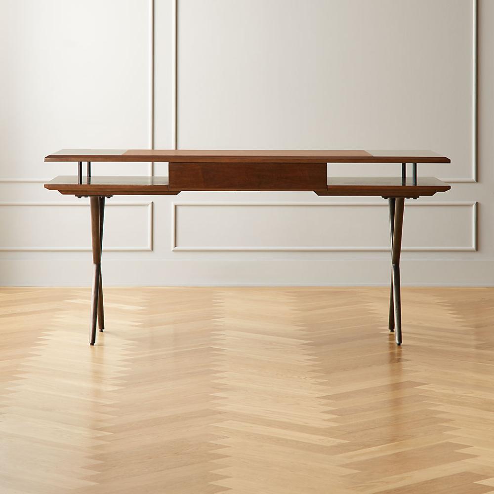 4 Mid Century Modern Desk Finished original Silver Trim Wood Legs with Hardwares