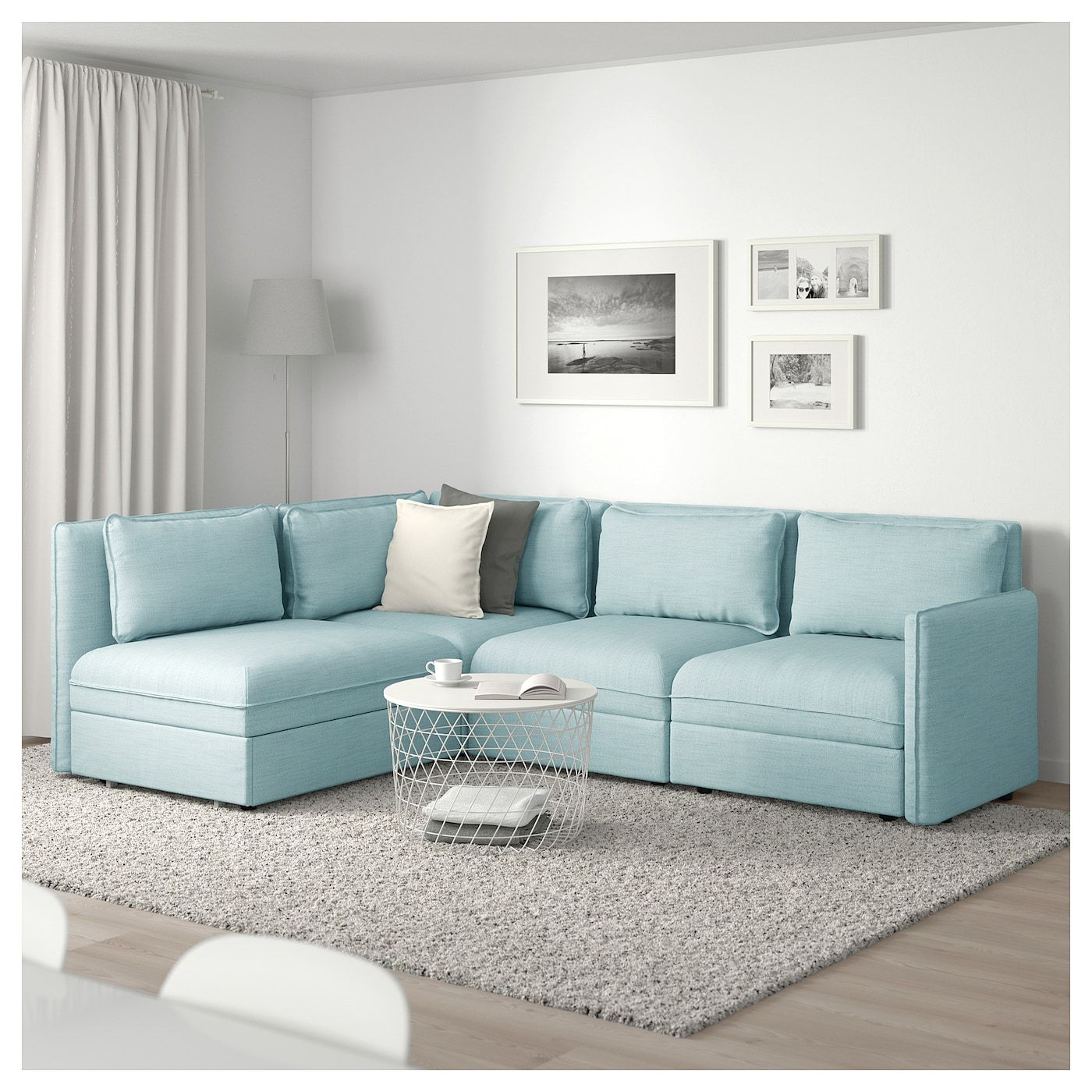 Vallentuna Mod Sectional 3 Seat W Slpr Sect And Storage Hillared Light Blue Ikea Modular Corner Sofa Corner Sofa Vallentuna