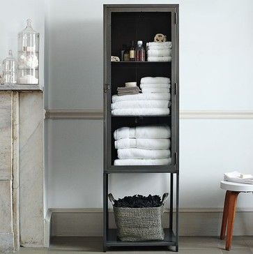 Tall Industrial Metal Bath Cabinet Modern Bathroom Storage West Elm Home Furniture