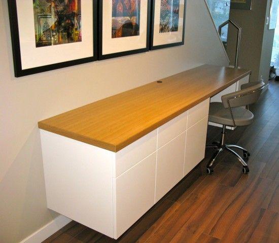 floating desk,  custom cabinet