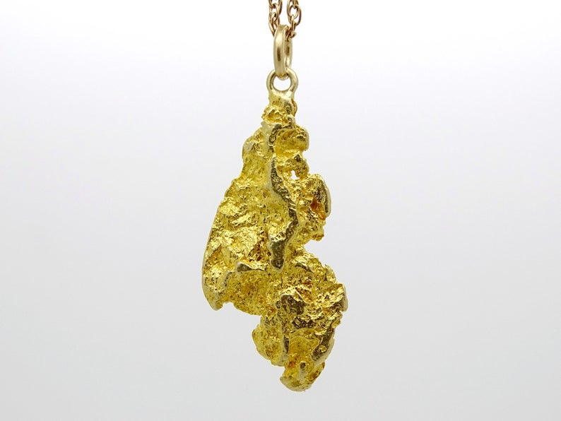 Big Gold Nugget Pendant Raw Gold Nugget Necklace Real Gold Etsy In 2021 Nugget Necklace Natural Gold Nugget Gold Nugget
