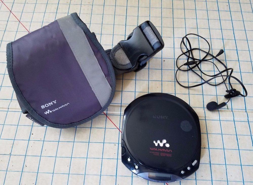 Sony Walkman Cd Player D E220 Esp Max Portable Black W Carring