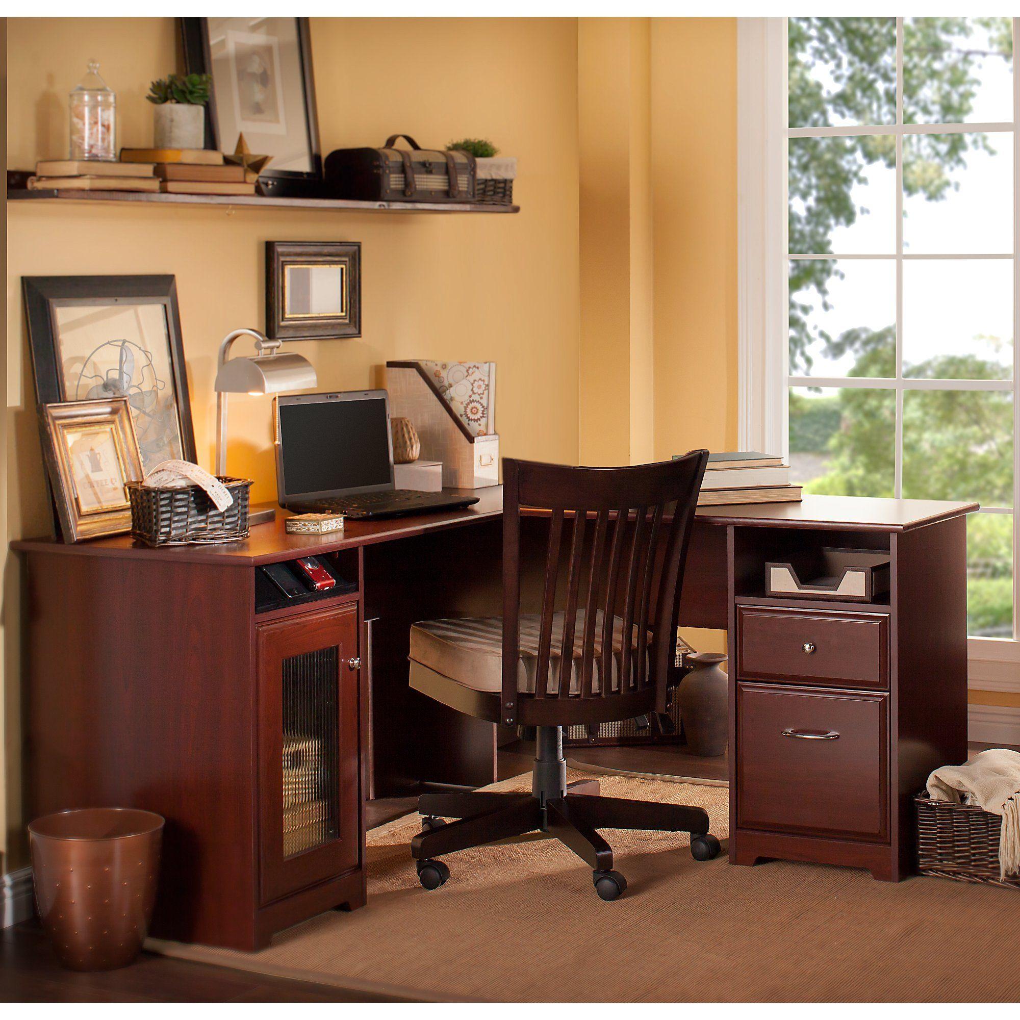 Bush furniture cabot l shaped desk in harvest cherry affiliate