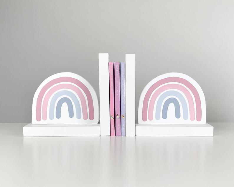 Rainbow Bookends Pastel Nursery Decor Book Ends For Kids Children S Bedroom Decor Baby Girl Shower Gift Boho Nursery Blush Pink Scandi In 2020 Pastel Nursery Decor Pastel Nursery Bookends