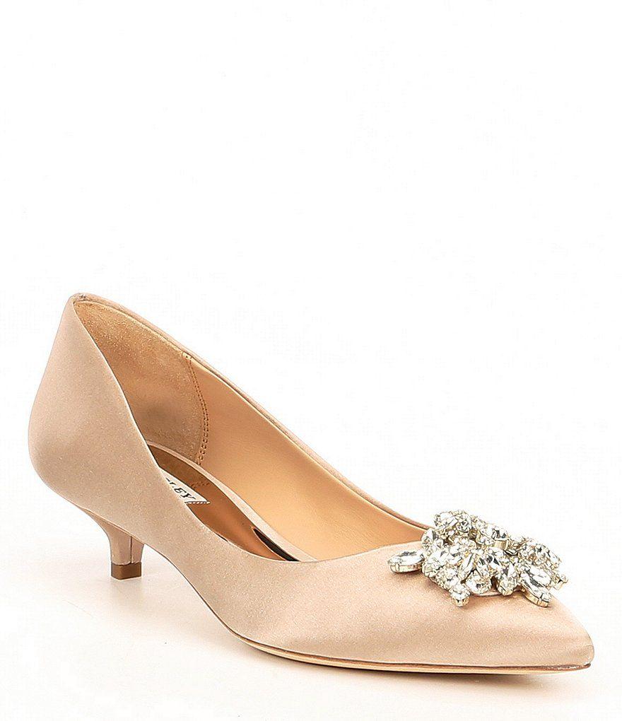 Badgley Mischka Vail Jeweled Satin Kitten Heel Pumps Kitten Heels Wedding Kitten Heels Pumps Heels