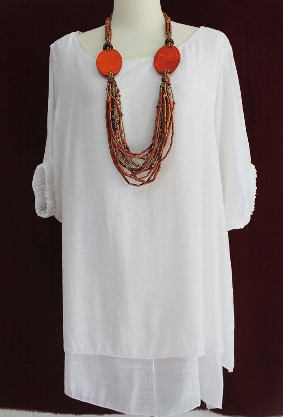 Plus Size 2X 3X Off White 2 Layers Cotton Top Women Tunic Blouse ...