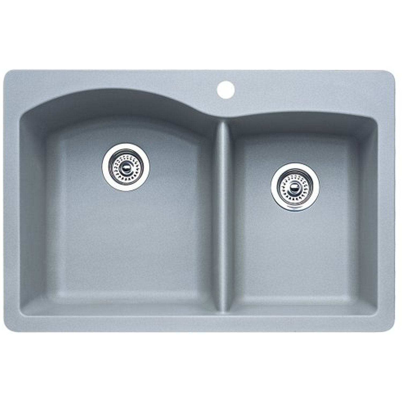 Blanco 440214 Diamond 1-3/4 Bowl Kitchen Sink, Metallic Gray Finish ...