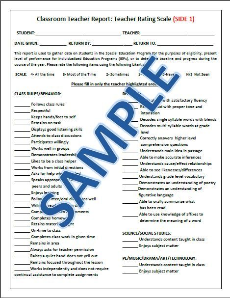 Classroom Teacher Report A great tool for administrators, special - likert scale template