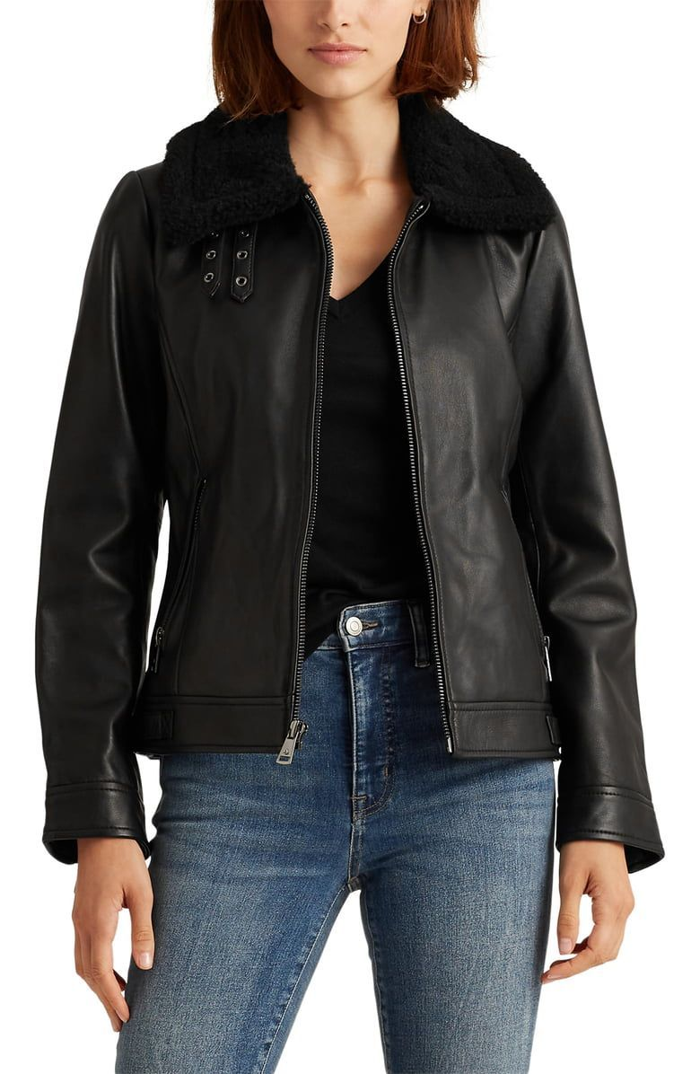 Lauren Ralph Lauren Leather Jacket With Faux Fur Collar Nordstrom Ralph Lauren Leather Jacket Leather Jacket Faux Fur Collar [ 1196 x 780 Pixel ]