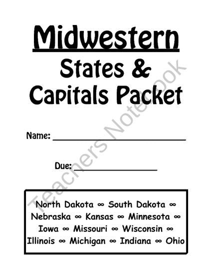 Midwestern States and Capitals Review Packet from Dr Noahs