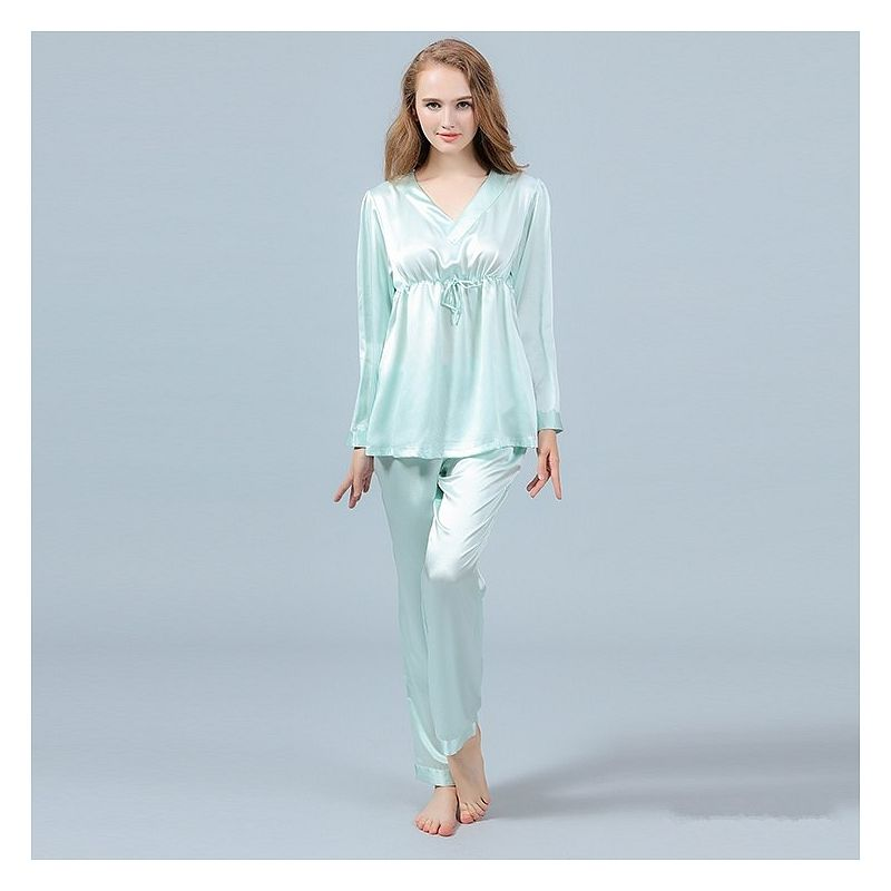 60f581679d 22 Momme Silk Pajamas Set Pullover Shirt   Long Pants in 2019 ...