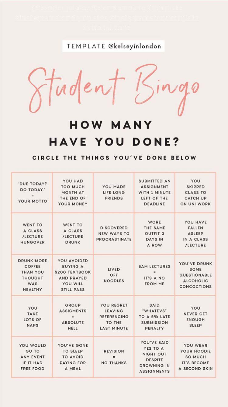 Student Bingo Instagram Story Template By Kelseyinlondon