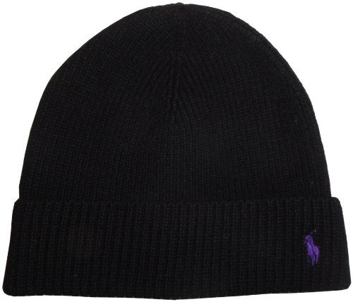 Mens Polo Ralph Lauren Hat Skull Cap 100/% Merino Wool Black with Purple Pony