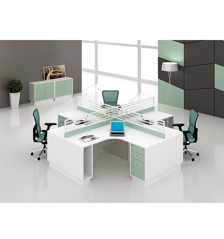 High quality 4 person simple design office cubicle for Simple office layout
